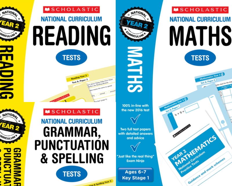 Scholastic Year 2 Mock Test Pack [3 BOOKS] KS1 SATs Practice tests for  English and Maths.