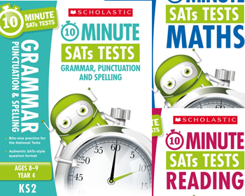 Scholastic Year 4 10 Minute Tests [3 BOOKS] KS2 SATs English, GPS and Maths